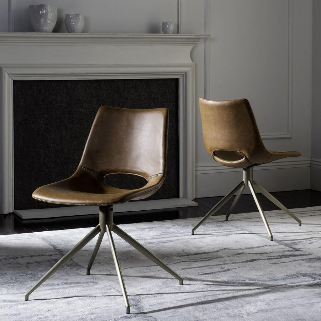 Safavieh - Set of 2 - Danube Dining Chair Midcentury Modern Leather Swivel Light Brown Brass Powder Coating Plywood FoamSteelPU ACH7001A-SET2 889048249431