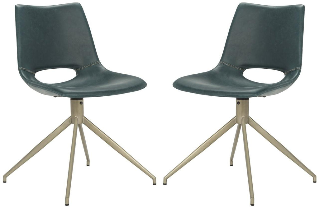 Safavieh - Set of 2 - Danube Dining Chair Midcentury Modern Leather Swivel Blue Brass Powder Coating Plywood Foam Stainless Steel PU ACH7001B-SET2 889048249639