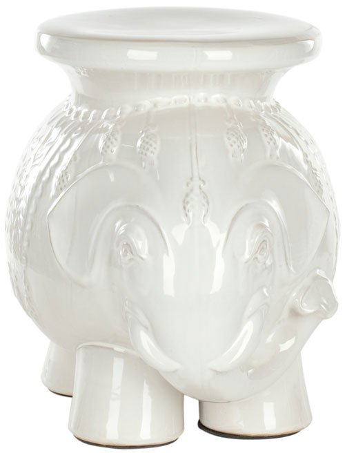 Safavieh Stool Elephant White Ceramic ACS4501A 683726468233 (4533888516141)