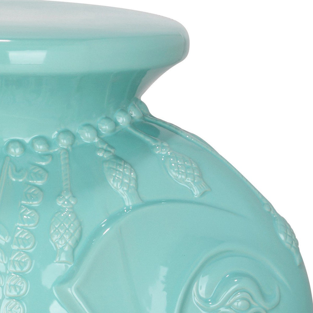 Safavieh Stool Elephant Light Blue Ceramic ACS4501C 683726421993 (4533888516141)