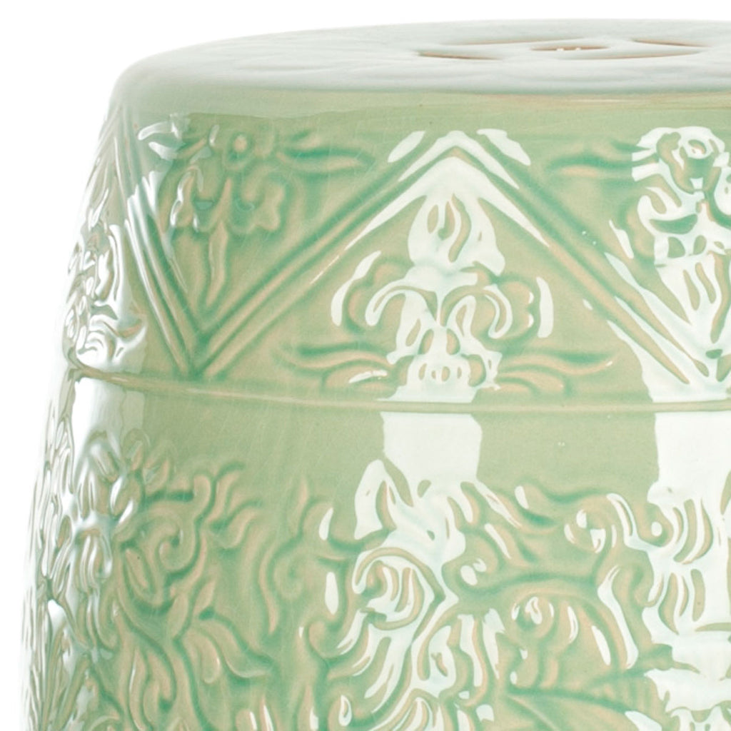Safavieh Garden Stool Lotus Light Green Ceramic ACS4502A 683726497363
