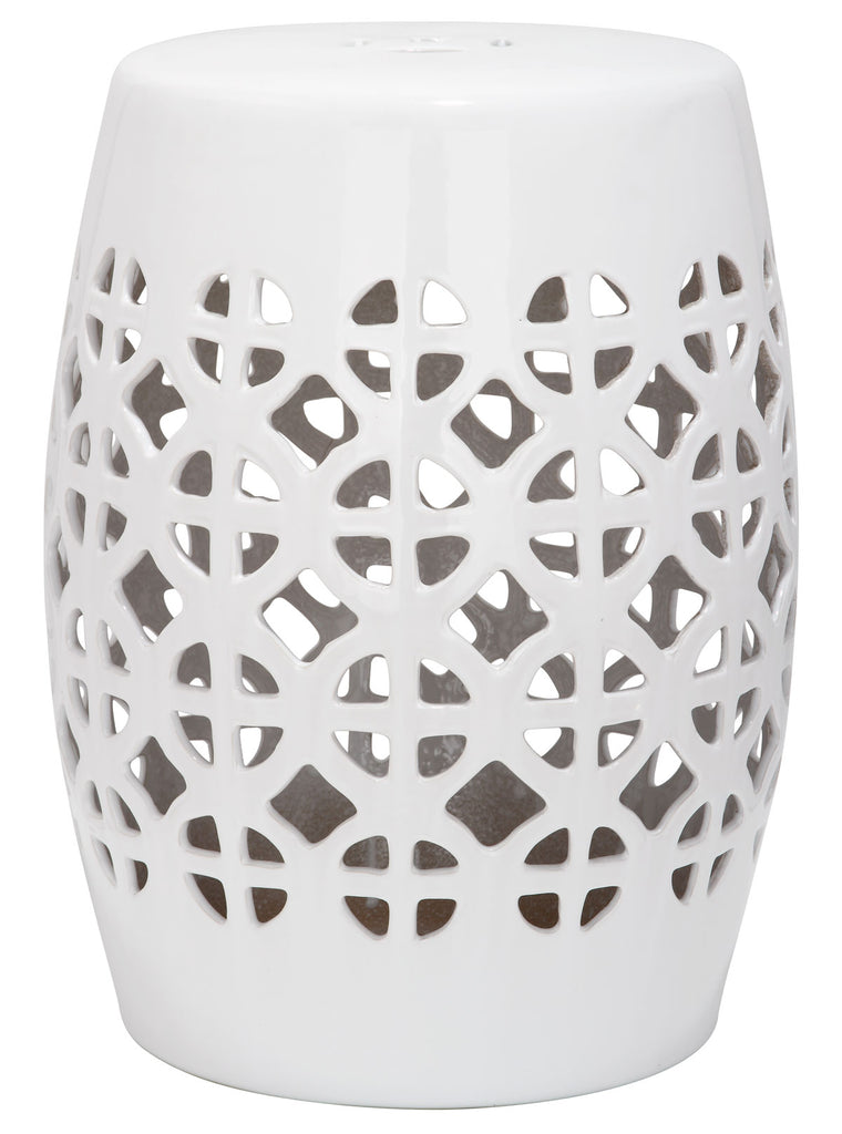 Safavieh Garden Stool Circle Lattice White Ceramic ACS4508A 683726420040 (4536873451565)