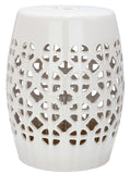 Safavieh Garden Stool Circle Lattice Cream Ceramic ACS4508B 683726420064 (4536873451565)
