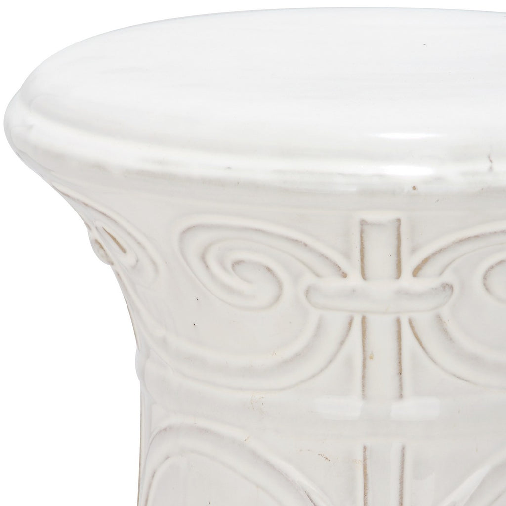 Safavieh Imperial Garden Stool Scroll White Ceramic ACS4521A 683726422044 (4536876630061)