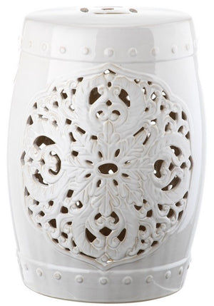 Safavieh Flora Garden Stool White Ceramic ACS4527A 683726317449