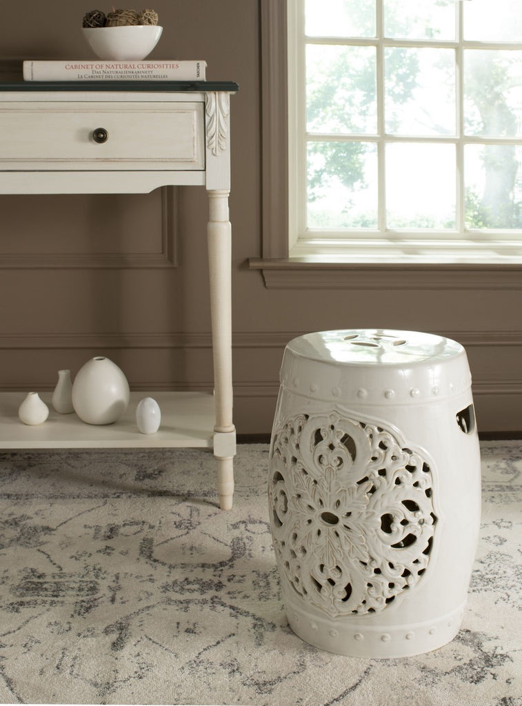 Safavieh Flora Garden Stool Cream Ceramic ACS4527B 683726317456