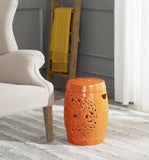 Safavieh Flora Garden Stool Orange Ceramic ACS4527D 683726318071