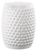 Safavieh Stella Stool Nail Head White Ceramic ACS4530A 683726318347