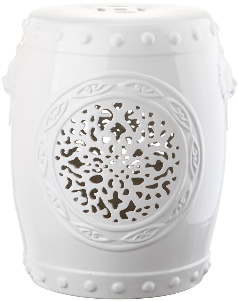 Safavieh Garden Stool Flower Drum White Ceramic ACS4532A 683726321552
