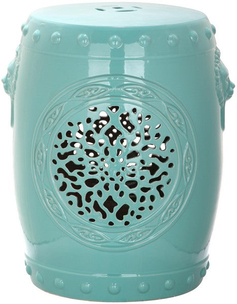 Safavieh Garden Stool Flower Drum Light Blue Ceramic ACS4532C 683726321576