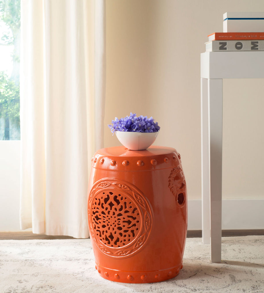 Safavieh Garden Stool Flower Drum Orange Ceramic ACS4532D 683726321583