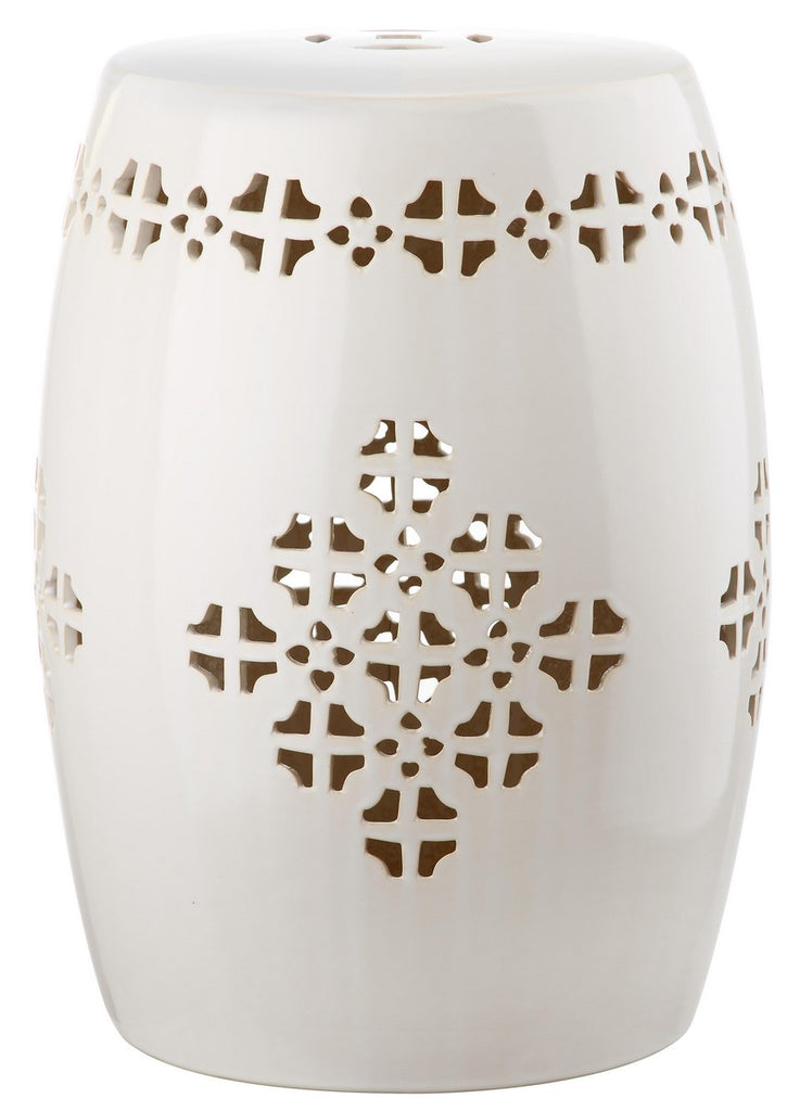Safavieh Quatrefoil Garden Stool Cream Ceramic ACS4535B 683726322801