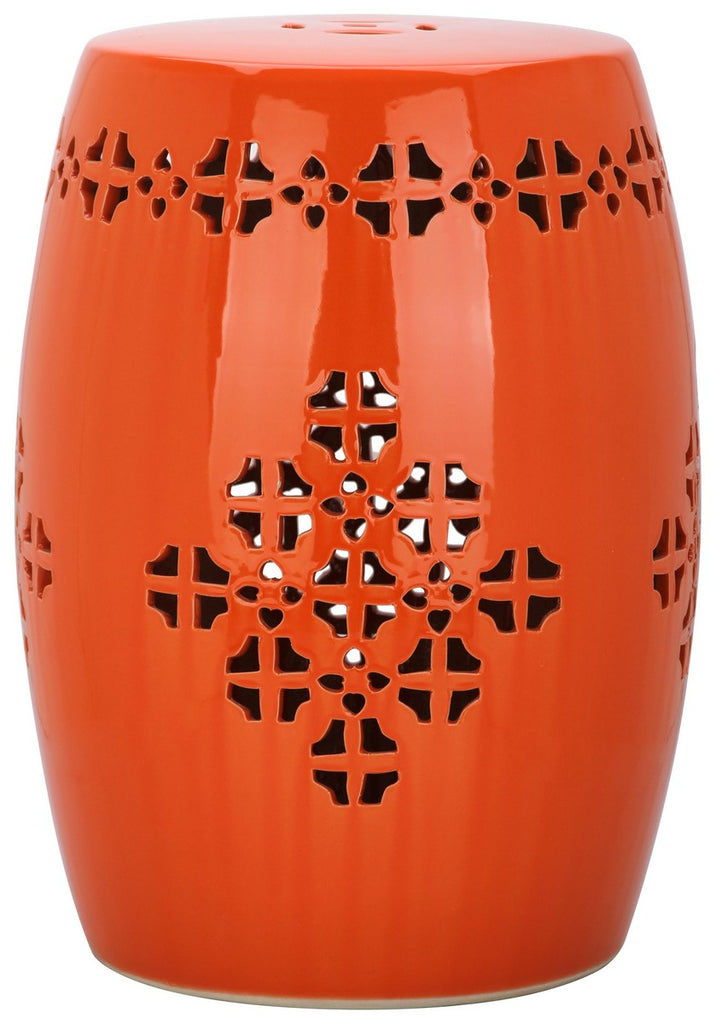 Safavieh Quatrefoil Garden Stool Orange Ceramic ACS4535D 683726322900
