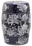 Safavieh Garden Stool Midnight Flower Navy and White Ceramic ACS4547A 683726328421