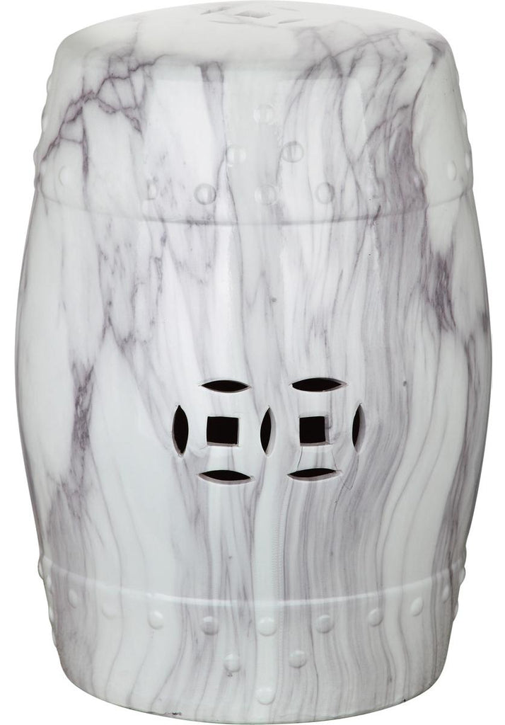 Safavieh Jade Garden Stool Swirl White and Black Ceramic ACS4551A 683726665021