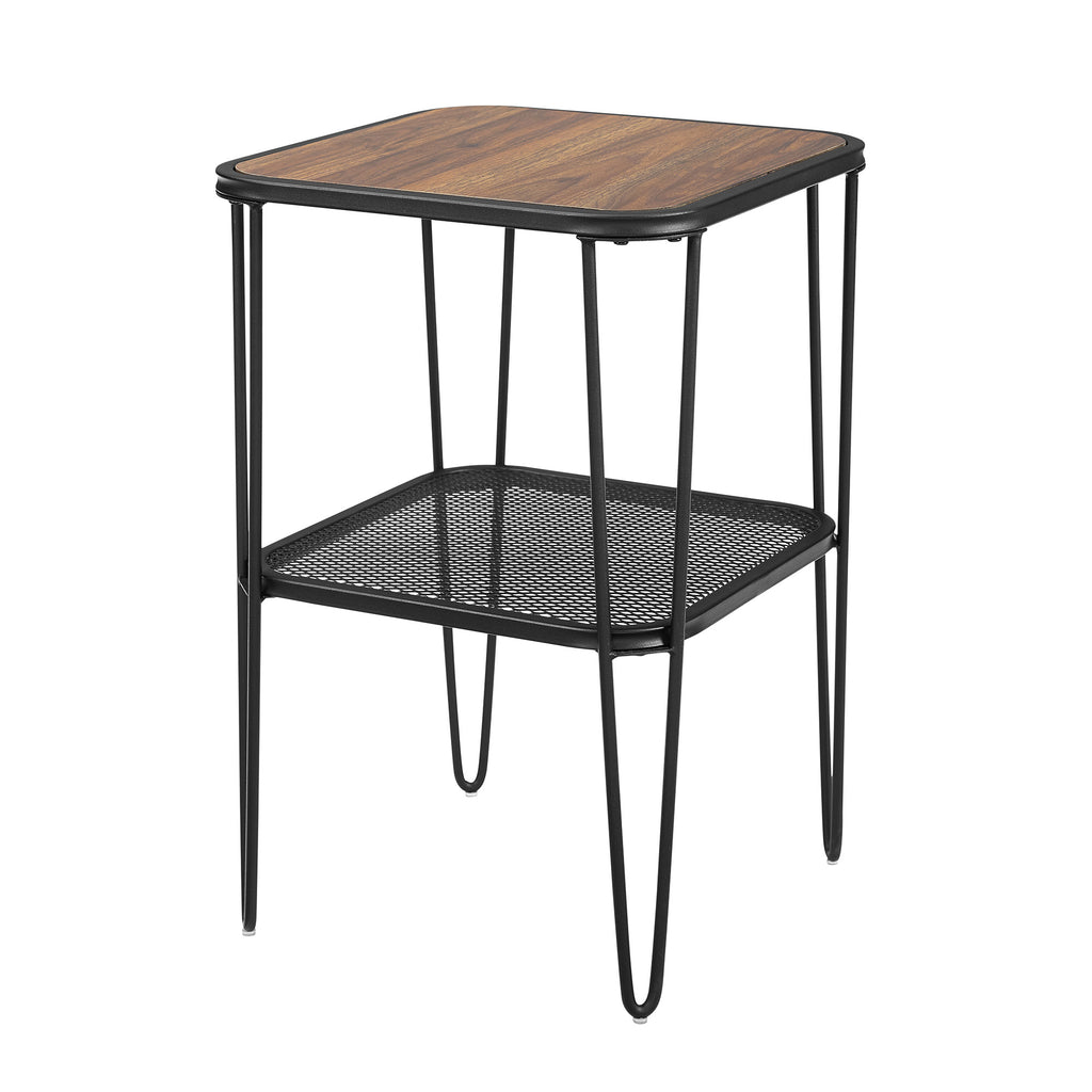 Walker Edison Mid Century Modern Side Table - Dark Walnut in Metal, Durable Laminate AF16LOSTDW 842158185402