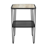 Walker Edison Mid Century Modern Side Table - Grey Wash in Metal, Durable Laminate AF16LOSTGW 842158185419