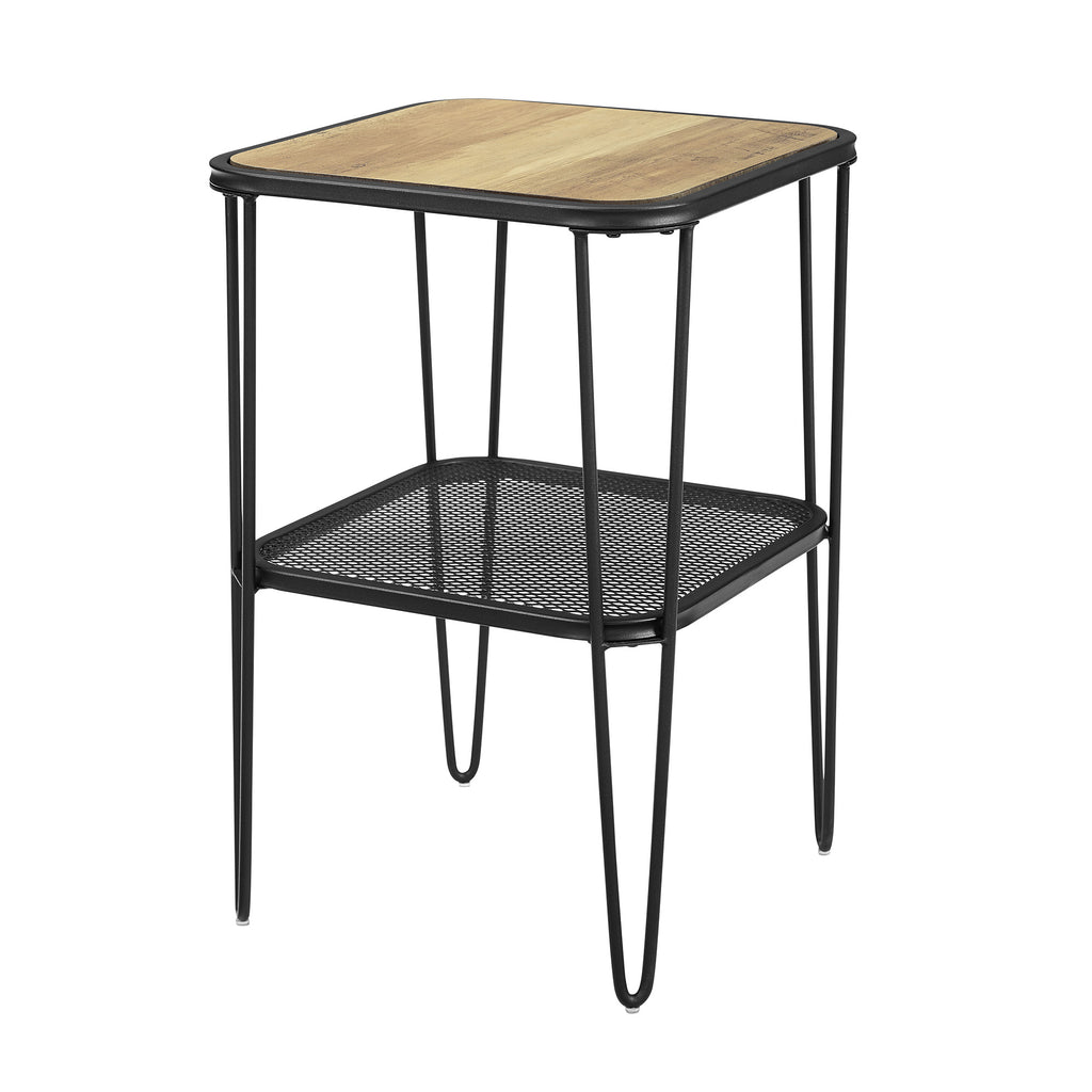 Walker Edison Mid Century Modern Side Table - Rustic Oak in Metal, Durable Laminate AF16LOSTRO 842158185426