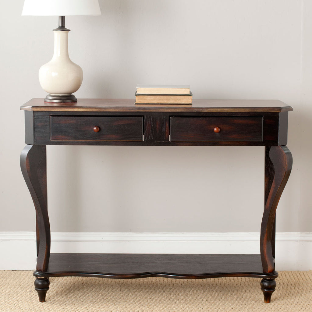 Safavieh Katie Console 2 Storage Drawers Honey Oak Dark Cherry Wood NC Lacquer Coating Birch AMH4026A 683726646556