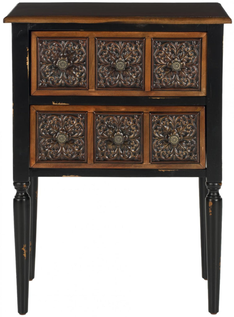 Safavieh Kenneth Side Table 2 Drawer Dark Brown Wood NC Lacquer Coating Birch Iron AMH4052A 683726516675