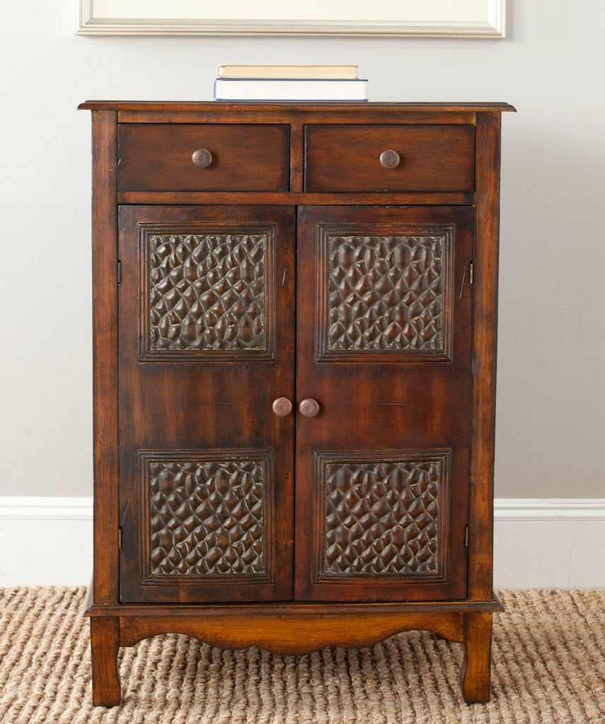 Safavieh Herbert Chest Storage Dark Brown Wood NC Lacquer Coating Birch Iron AMH4083A 683726516989