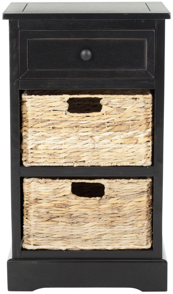Safavieh Carrie Side Table Storage Distressed Black Wood Water Based Paint Pine Aluminum Alloy AMH5700B 683726469957