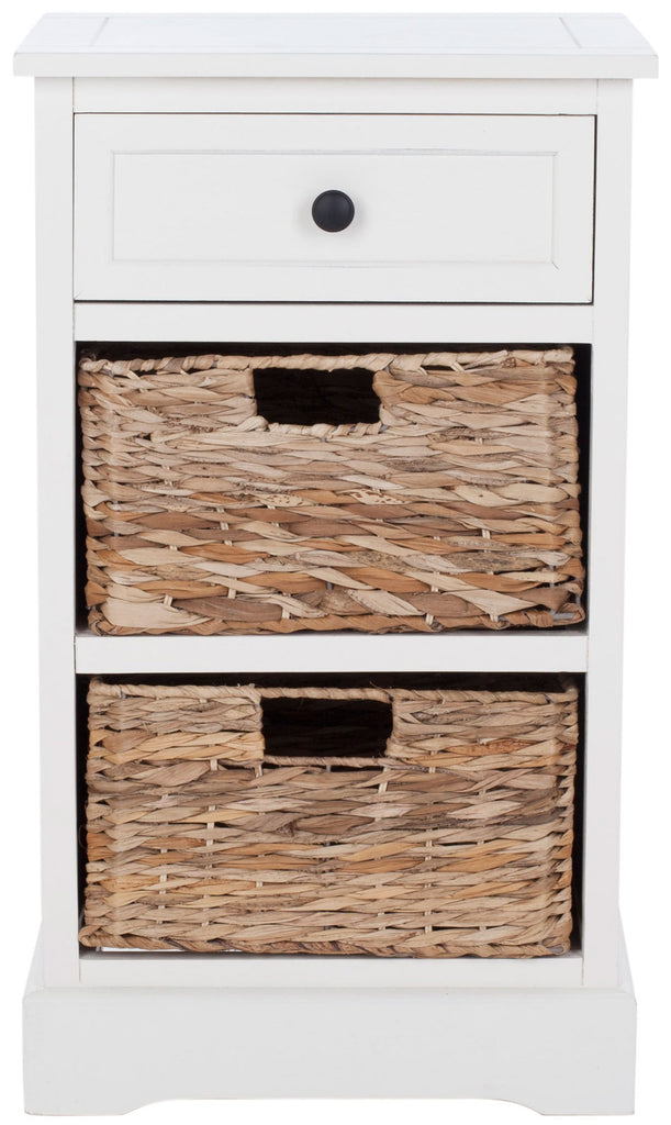 Safavieh Carrie Side Table Storage Distressed Cream Wood Water Based Paint Pine Aluminum Alloy AMH5700C 683726470014