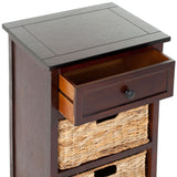 Safavieh Carrie Side Table Storage Dark Cherry Wood Water Based Paint Pine Aluminum Alloy AMH5700D 683726470076