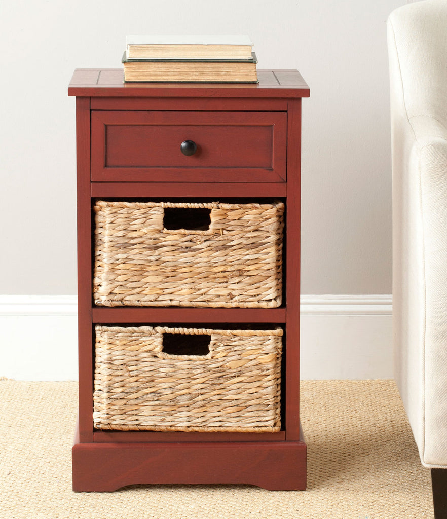 Safavieh Carrie Side Table Storage Red Wood Water Based Paint Pine Aluminum Alloy AMH5700E 683726214823