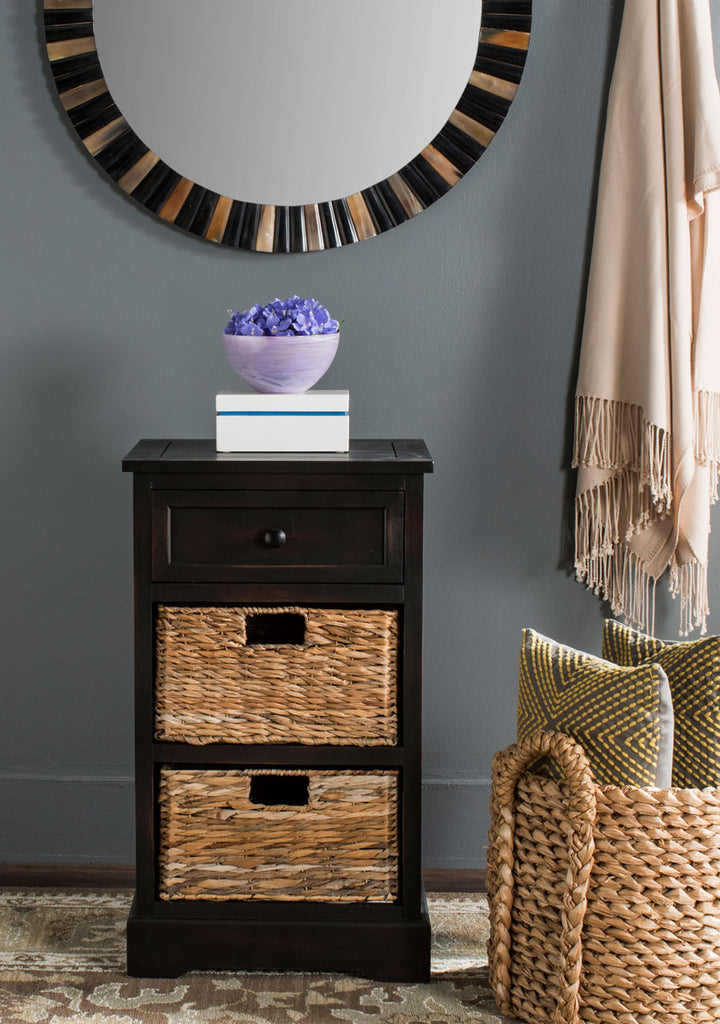 Safavieh Carrie Side Table Storage Brown Wood Water Based Paint Pine Aluminum Alloy AMH5700F 683726737247