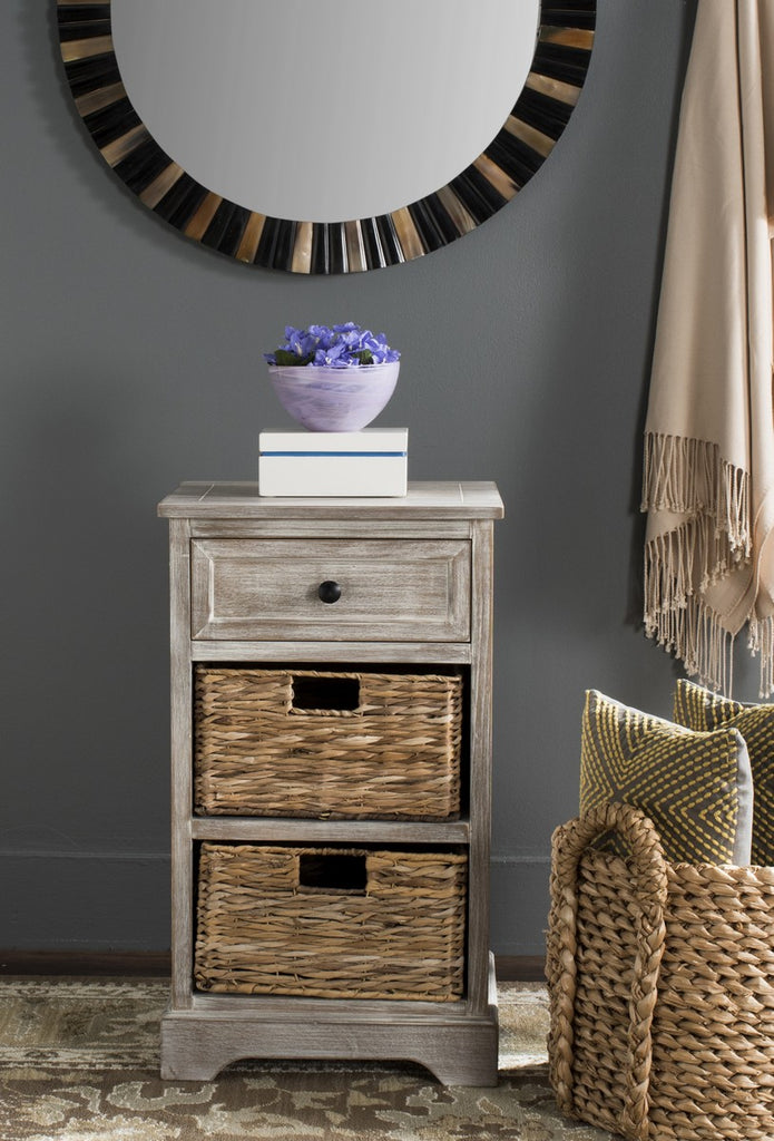 Safavieh Carrie Side Table Storage White Wash Wood Water Based Paint Pine Aluminum Alloy AMH5700G 683726737278