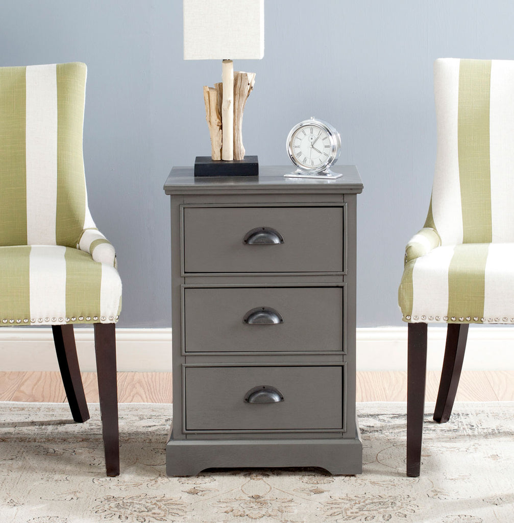 Safavieh Griffin Side Table Grey Wood Water Based Paint Pine MDF Veneer Aluminum Alloy AMH5717A 683726134084