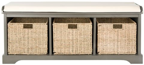 Safavieh Lonan Bench Wicker Storage Grey White Wood Water Based Paint Pine MDF Veneer Spongeus Fire Safety Standard Canvas AMH5733A 683726135623
