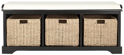 Safavieh Lonan Bench Wicker Storage Black White Wood Water Based Paint Pine MDF Veneer Spongeus Fire Safety Standard Canvas AMH5733E 683726143284