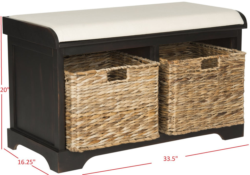 Safavieh Freddy Bench Wicker Storage Brown Wood Water Based Paint Pine Spongeus Fire Safety Standard Canvas AMH5736A 683726811824