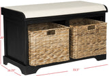 Safavieh Freddy Bench Wicker Storage Distressed Black Wood Water Based Paint Pine Spongeus Fire Safety Standard Canvas AMH5736B 683726811848