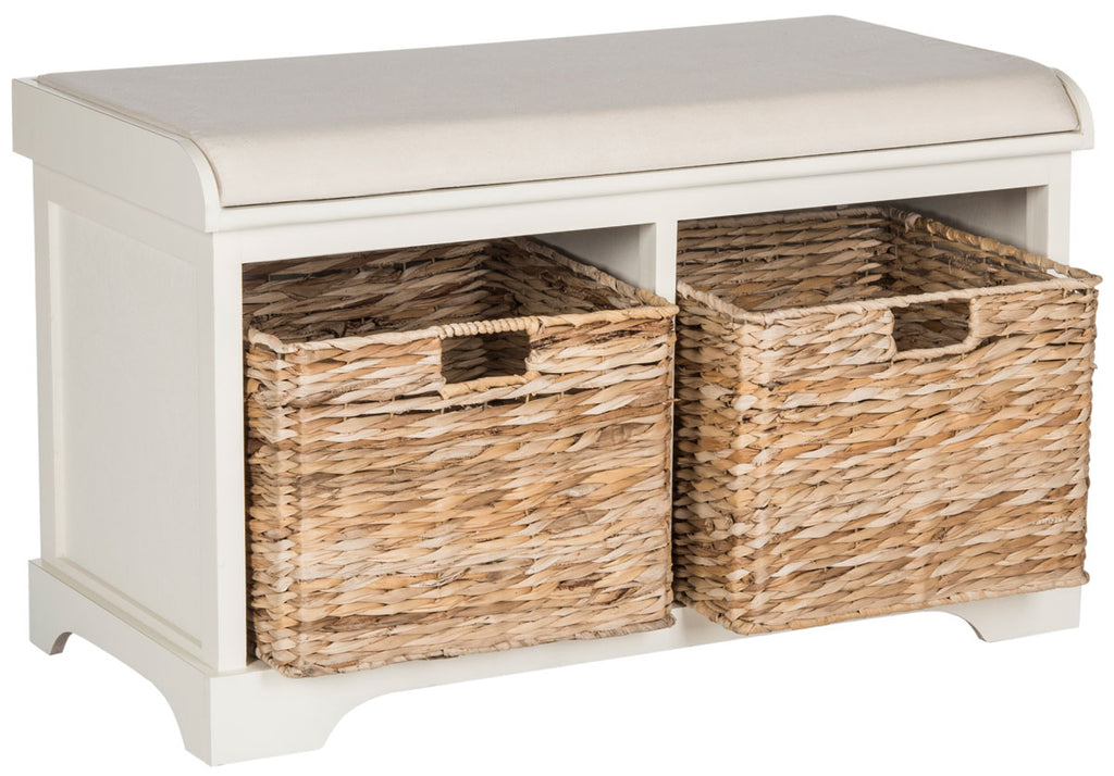 Safavieh Freddy Bench Wicker Storage Distressed White Wood Water Based Paint Pine Spongeus Fire Safety Standard Canvas AMH5736D 889048040083
