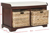 Safavieh Freddy Bench Wicker Storage Cherry Wood Water Based Paint Pine Spongeus Fire Safety Standard Canvas AMH5736E 889048040090