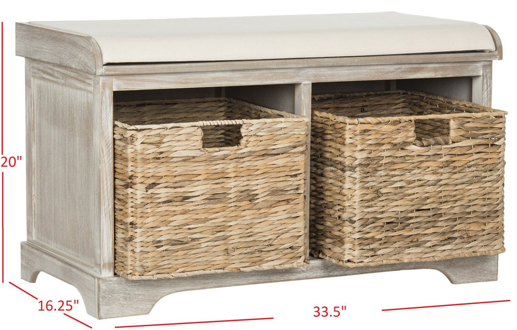 Safavieh Freddy Bench Wicker Storage Vintage White (Winter Melody) Wood Water Based Paint Pine Spongeus Fire Safety Standard Canvas AMH5736G 889048040113