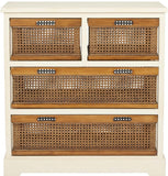 Safavieh Jackson Storage Unit 4 Drawer Barley Cane Wood NC Coating Poplar AMH6504A 683726573012