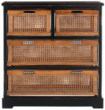 Safavieh Jackson Storage Unit 4 Drawer Antique Black Cane Wood NC Coating Pine AMH6504B 683726581758