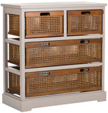 Safavieh Jackson Storage Unit 4 Drawer Quartz Grey Cane Wood NC Coating Pine AMH6504C 683726581765