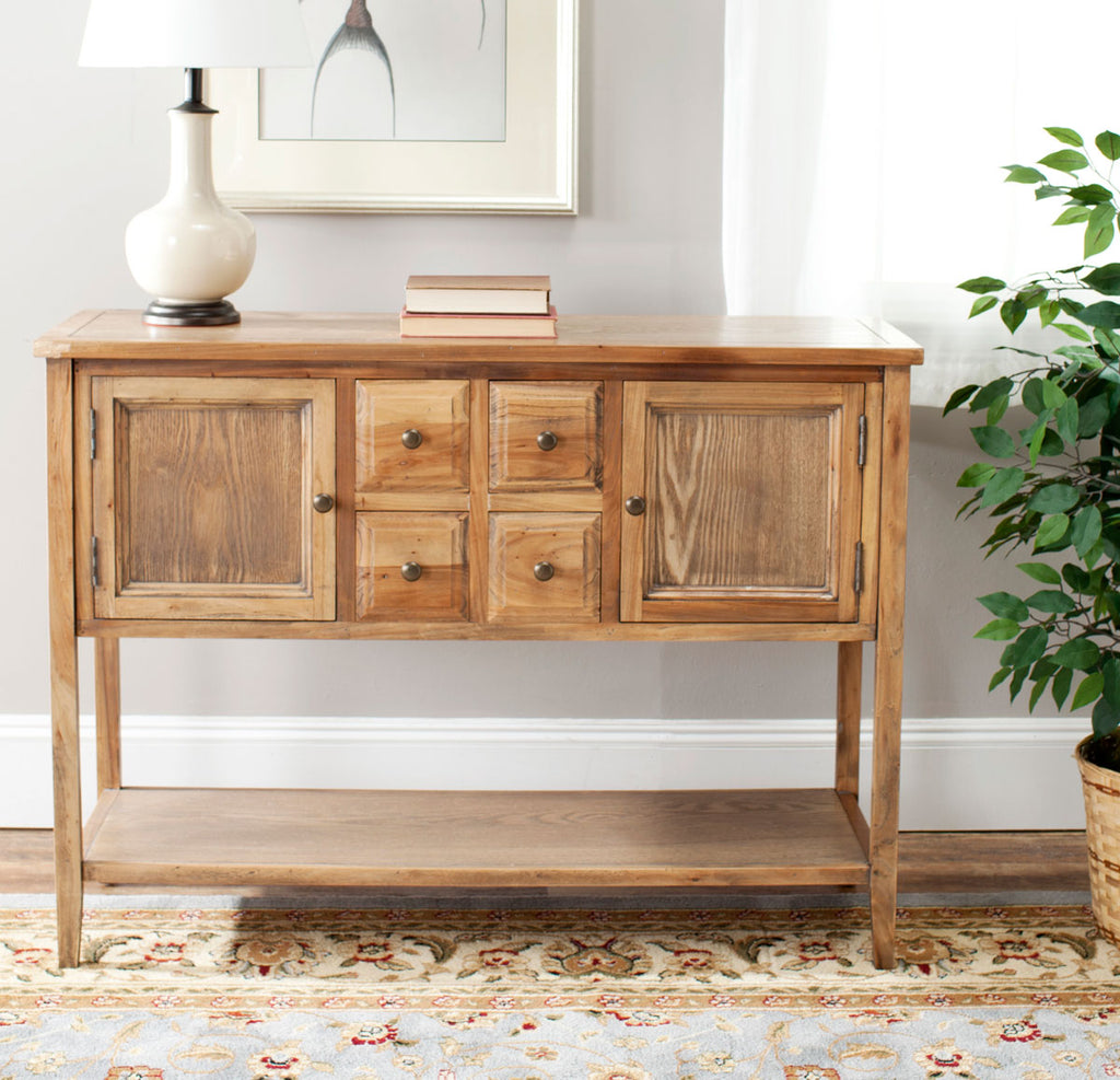 Safavieh Charlotte Sideboard Storage Oak Wood NC Coating Elm Pine ZiNC Alloy AMH6517A 683726743859