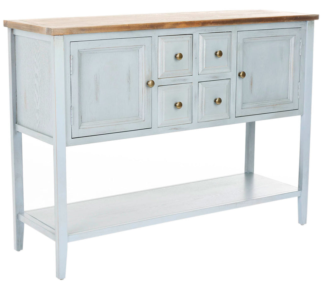 Safavieh Charlotte Sideboard Storage Barn Blue Oak Wood NC Coating Elm Pine ZiNC Alloy AMH6517B 683726971245