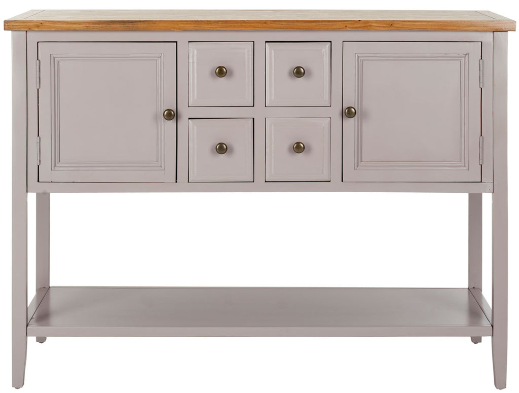 Safavieh Charlotte Sideboard Storage Quartz Grey Oak Wood NC Coating Elm Pine ZiNC Alloy AMH6517C 683726529927