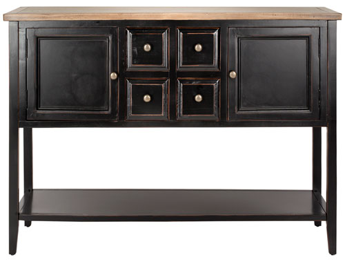 Safavieh Charlotte Sideboard Storage Black Oak Wood NC Coating Elm Pine ZiNC Alloy AMH6517D 683726529934