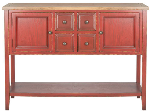 Safavieh Charlotte Sideboard Storage Egyptian Red Oak Wood NC Coating Elm Pine ZiNC Alloy AMH6517F 683726662754