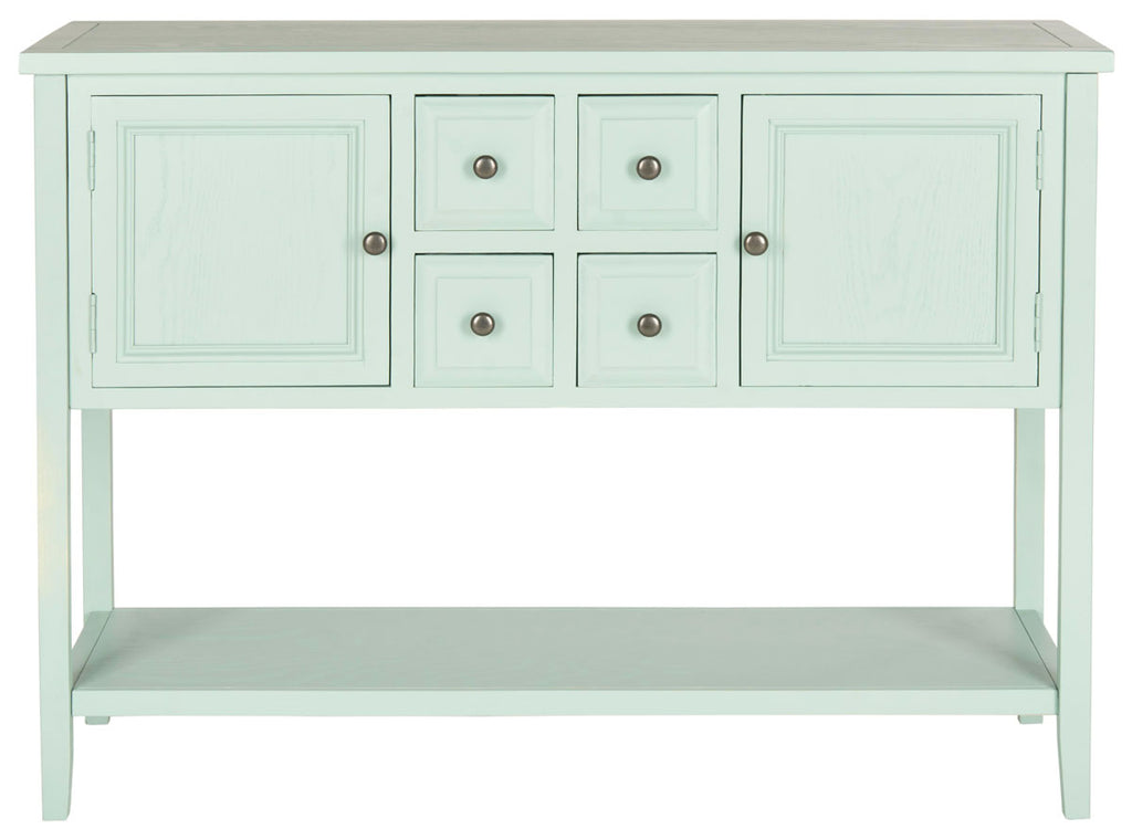 Safavieh Charlotte Sideboard Storage Aqua Smoke Wood NC Coating MDF Pine ZiNC Alloy AMH6517H 683726708452