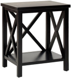 Safavieh Candence End Table Cross Back Black Wood NC Coating Pine AMH6523B 683726529989