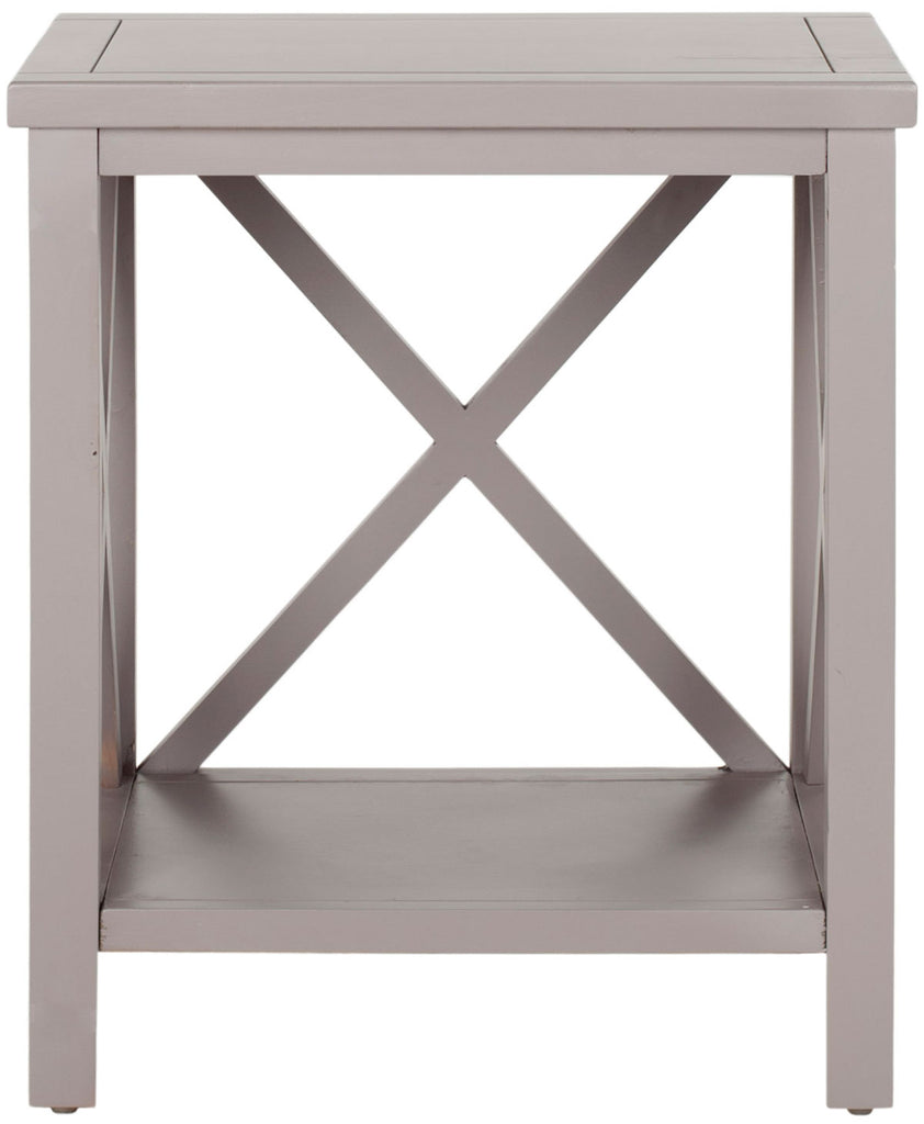 Safavieh Candence End Table Cross Back Quartz Grey Wood NC Coating Pine AMH6523C 683726530015